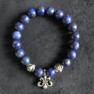 KING BABY Men's Lapis Bead Bracelet Fleur de Lis